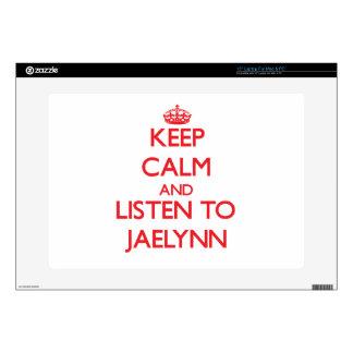 "Keep Calm and listen to Jaelynn 15"" Laptop Decals"