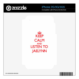 Keep Calm and listen to Jaelynn Decal For iPhone 3GS