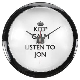 Keep Calm and Listen to Jon Aquavista Clock
