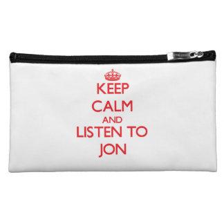 Keep Calm and Listen to Jon Makeup Bag