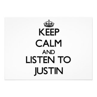 Keep Calm and Listen to Justin Invitation