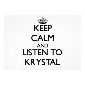 Keep Calm and listen to Krystal Custom Invitation