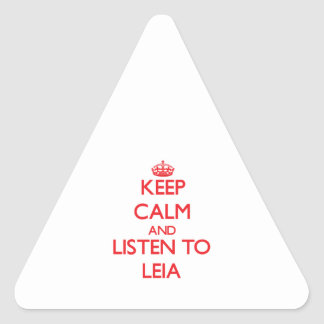 Keep Calm and listen to Leia Triangle Sticker