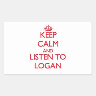 Keep calm and Listen to Logan Rectangle Sticker
