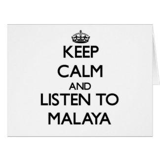 Keep Calm and listen to Malaya Large Greeting Card