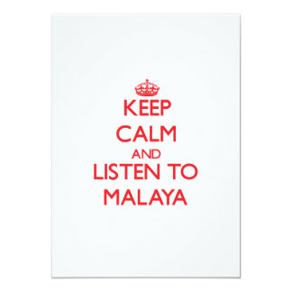 Keep Calm and listen to Malaya 5x7 Paper Invitation Card