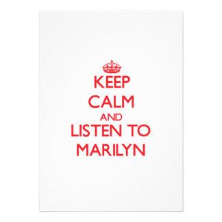 Keep Calm and listen to Marilyn Custom Announcements