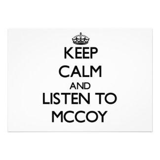 Keep calm and Listen to Mccoy Custom Invitation