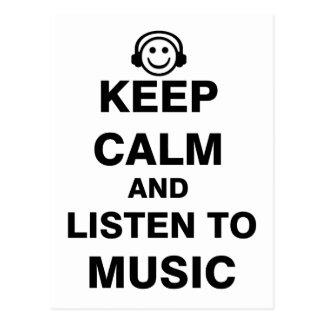 Keep Calm and Listen to Music Postcard
