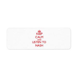 Keep Calm and Listen to Nash Return Address Label