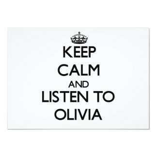 Keep Calm and listen to Olivia Custom Invites