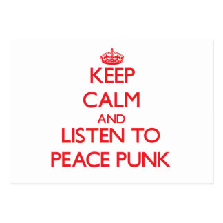Keep calm and listen to PEACE PUNK Large Business Cards (Pack Of 100)
