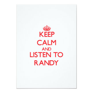 Keep Calm and Listen to Randy Personalized Invite