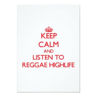 "Keep calm and listen to REGGAE HIGHLIFE 5"" X 7"" Invitation Card"
