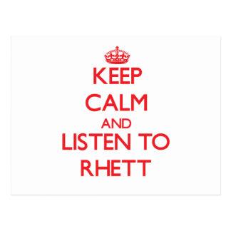 Keep Calm and Listen to Rhett Postcard