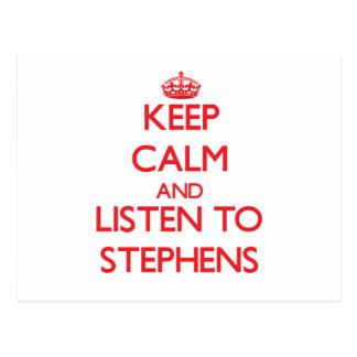 Keep calm and Listen to Stephens Postcard