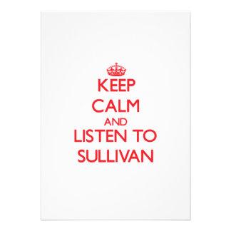 Keep calm and Listen to Sullivan Personalized Invitation