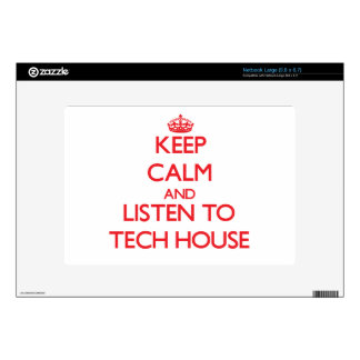 Keep calm and listen to TECH HOUSE Large Netbook Decal