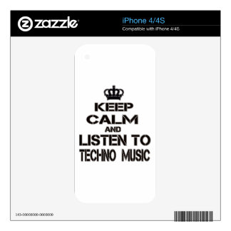 Keep Calm And Listen To Techno Music Skin For iPhone 4S