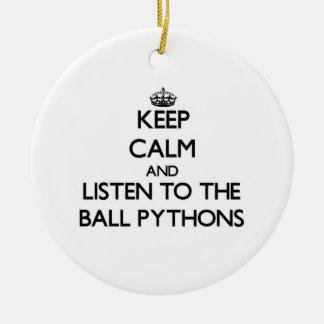Keep calm and Listen to the Ball Pythons Christmas Ornaments