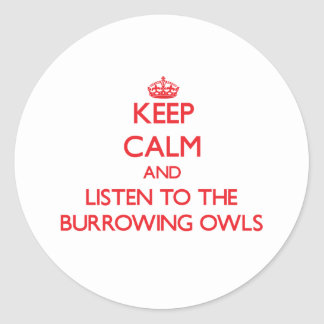 Keep calm and listen to the Burrowing Owls Stickers