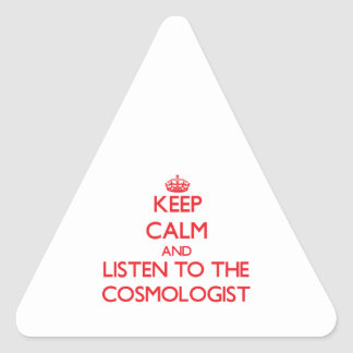 Keep Calm and Listen to the Cosmologist Triangle Sticker