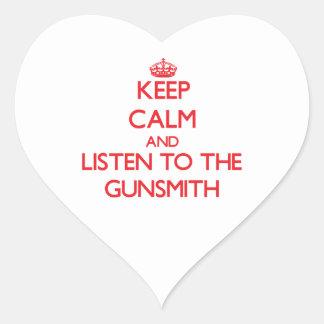 Keep Calm and Listen to the Gunsmith Heart Sticker