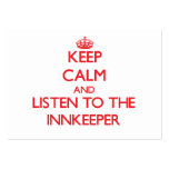 Keep Calm and Listen to the Innkeeper Large Business Cards (Pack Of 100)