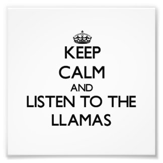 Keep calm and Listen to the Llamas Photographic Print