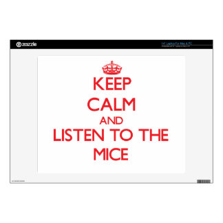 """Keep calm and listen to the Mice 14"""" Laptop Skins"""
