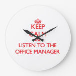Keep Calm and Listen to the Office Manager Wallclocks