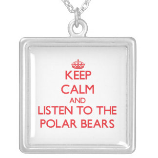Keep calm and listen to the Polar Bears Square Pendant Necklace