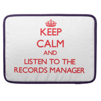 Keep Calm and Listen to the Records Manager Sleeve For MacBook Pro