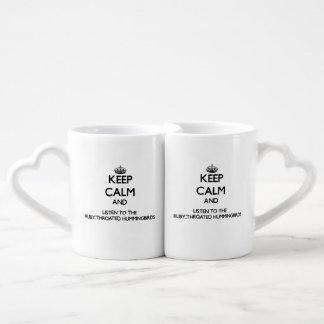 Keep calm and Listen to the Ruby-Throated Hummingb Couples' Coffee Mug Set
