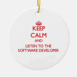 Keep Calm and Listen to the Software Developer Christmas Tree Ornaments