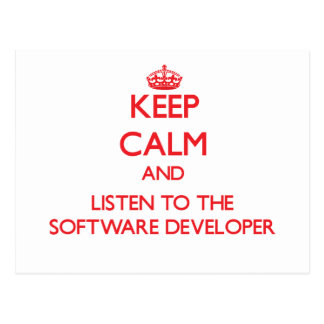 Keep Calm and Listen to the Software Developer Postcard