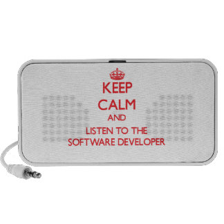 Keep Calm and Listen to the Software Developer Mp3 Speaker