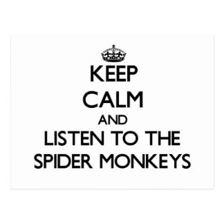 Keep calm and Listen to the Spider Monkeys Postcard