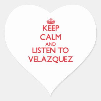 Keep calm and Listen to Velazquez Heart Sticker