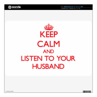 Keep Calm and Listen to your Husband Decal For The MacBook