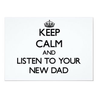 Keep Calm and Listen to  your New Dad Personalized Announcements