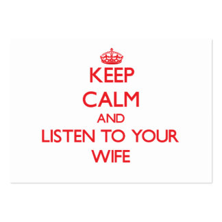 Keep Calm and Listen to  your Wife Business Card Template