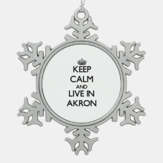 Keep Calm and live in Akron Ornament