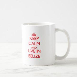Keep Calm and live in Belize Classic White Coffee Mug