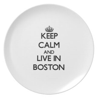 Keep Calm and live in Boston Party Plate