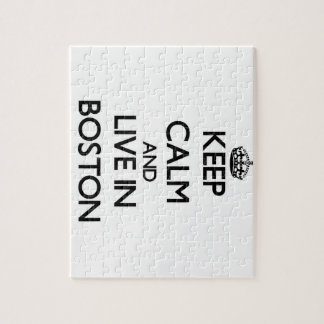 Keep Calm and live in Boston Jigsaw Puzzle