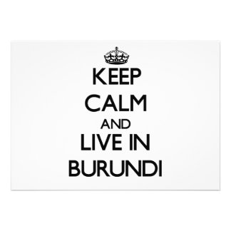 Keep Calm and Live In Burundi Personalized Announcement