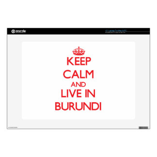 Keep Calm and live in Burundi Decal For Laptop