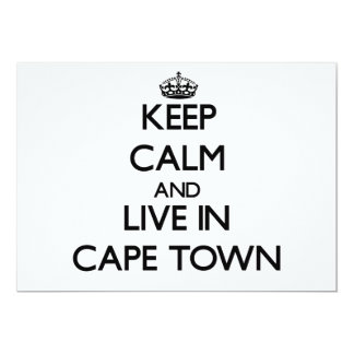 """Keep Calm and live in Cape Town 5"""" X 7"""" Invitation Card"""