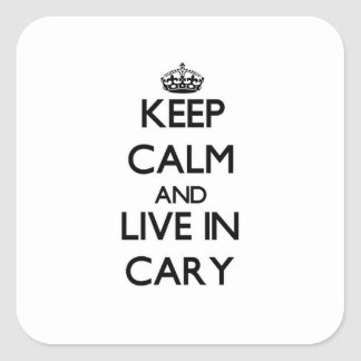 Keep Calm and live in Cary Square Stickers